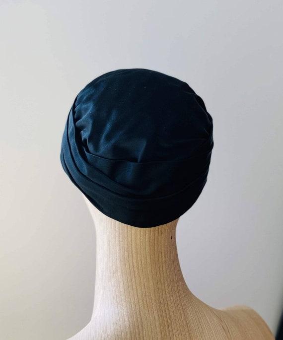HEIM 50s Black Satin Turban For Neiman Marcus / V… - image 5
