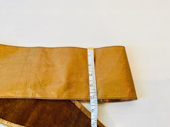 80s Wide Bronze Metallic Soft Leather Hip Belt - image 6