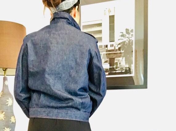 Halston denim bomber jacket / Vintage Jean Jacket… - image 6