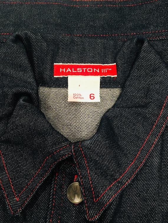 Halston denim bomber jacket / Vintage Jean Jacket… - image 8