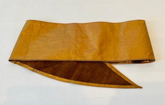 80s Wide Bronze Metallic Soft Leather Hip Belt - image 5
