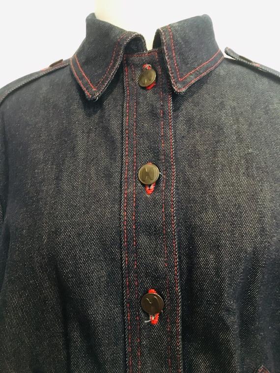 Halston denim bomber jacket / Vintage Jean Jacket… - image 2