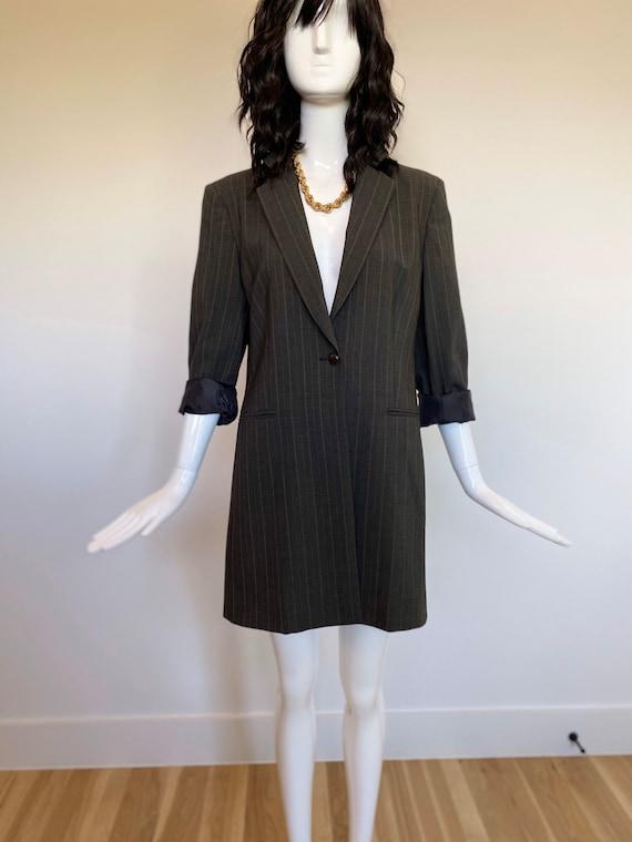 90s Max Mara Long Blazer / Blazer Dress / Menswear