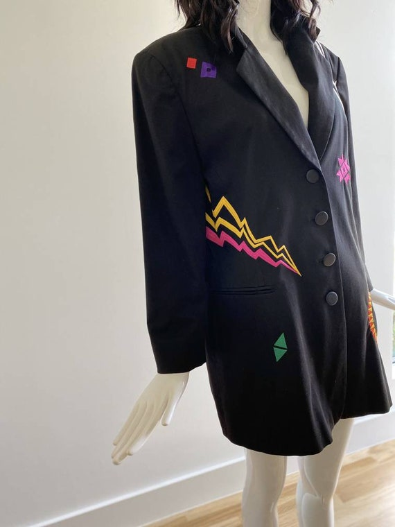90s Oversized Black Embroidered Blazer / Pop Art … - image 7