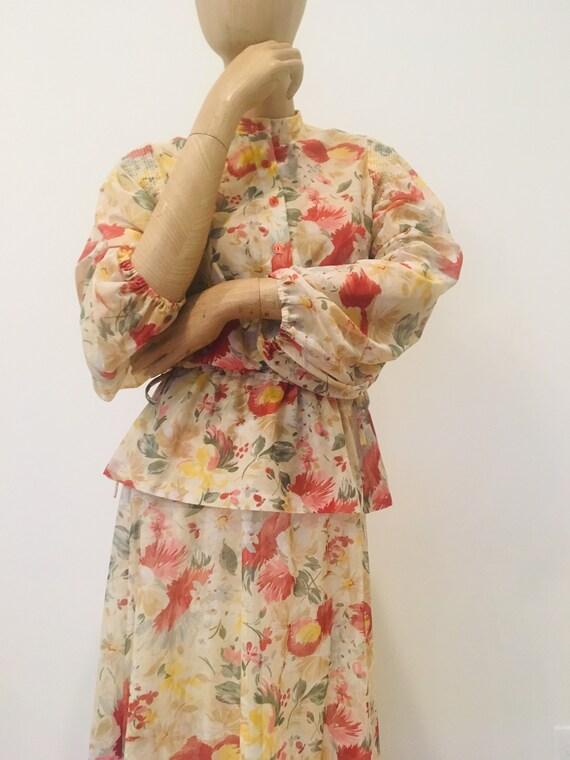 60s boho floral dress / floral 2 piece / PBJ / She