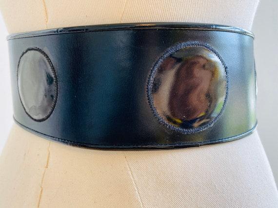 GALANOS 70s Wide Black Mod Leather Belt / Patent L