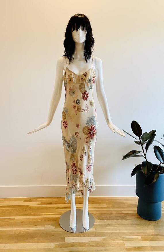 90s Silk Bias Floral Slip Dress / Lapis beaded Flo