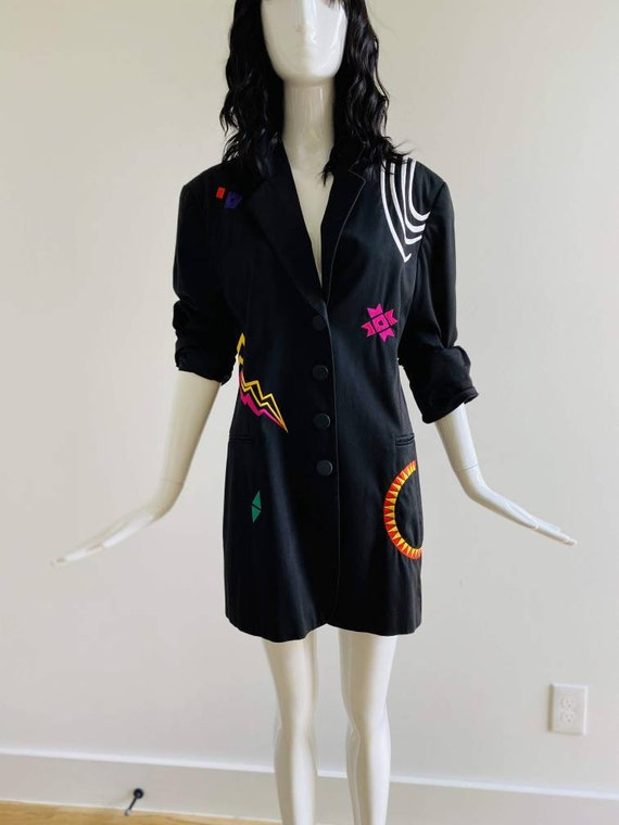 90s Oversized Black Embroidered Blazer / Pop Art … - image 2