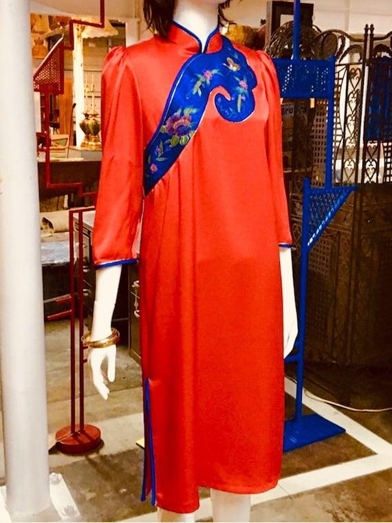 70s Red Party Dress /  Vintage Mandarin Dress / Sa