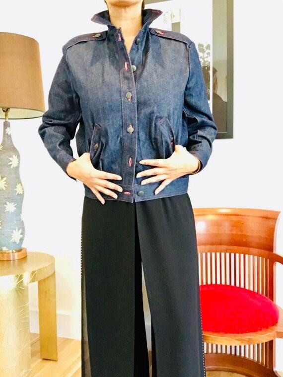Halston denim bomber jacket / Vintage Jean Jacket… - image 5
