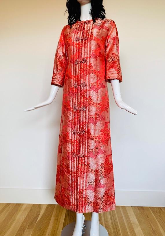 60s Silk Brocade DYNASTY of Hong Kong Pink Floral