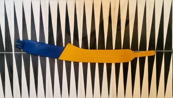 Pop art leather belt / 80s belt / avant-garde belt