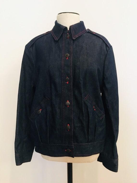 Halston denim bomber jacket / Vintage Jean Jacket… - image 1