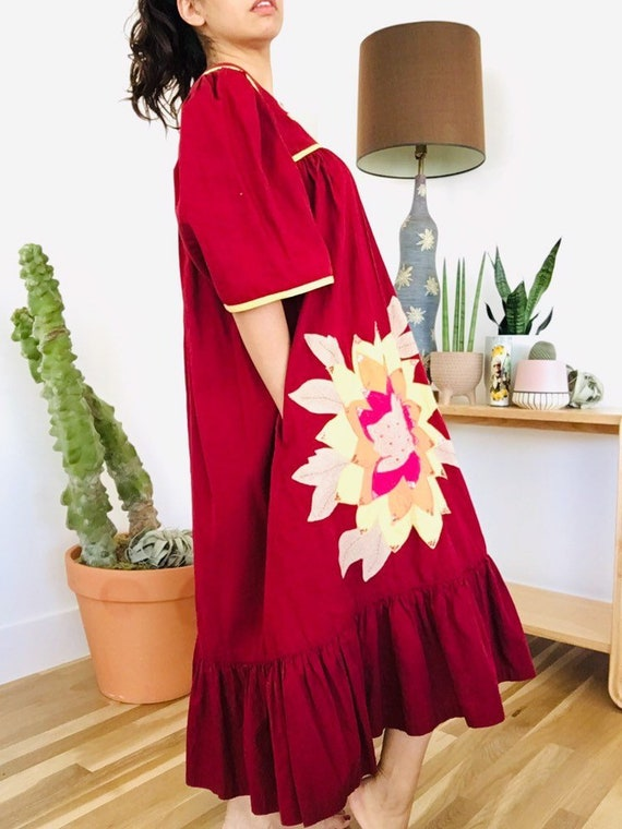 80s Muumuu / Indian Dress / Patchwork / Floral Muu