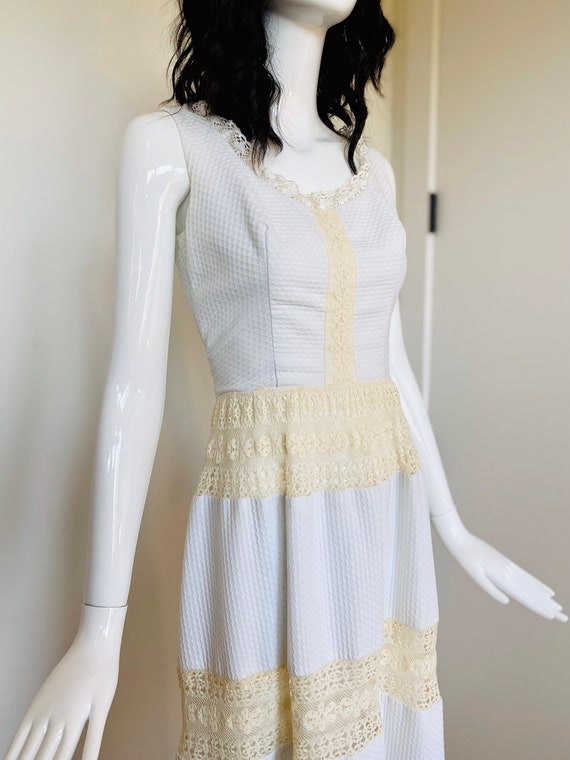 60s White Sleeveless Prairie Dress by Lanz
