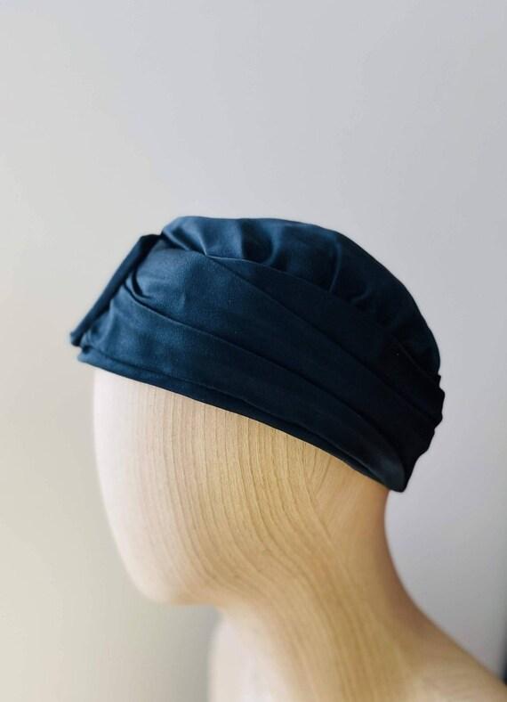 HEIM 50s Black Satin Turban For Neiman Marcus / V… - image 1