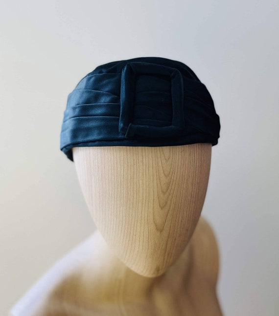 HEIM 50s Black Satin Turban For Neiman Marcus / V… - image 2