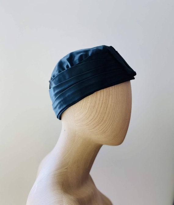 HEIM 50s Black Satin Turban For Neiman Marcus / V… - image 3