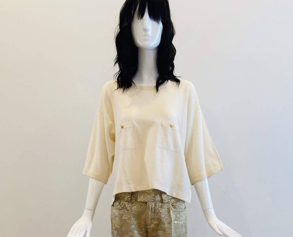 80s Sonia RYKIEL Wool Cream Cropped Top / Sonia Ry