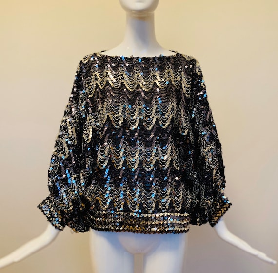 Disco Top / Studio 54 / Sequined Top / 70s Disco