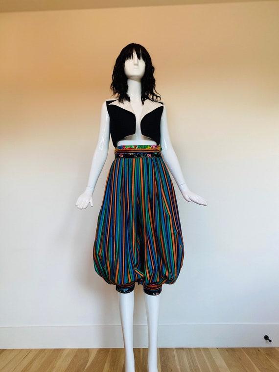 70s Cotton Balloon Pants, Stripe Multicolored Boho