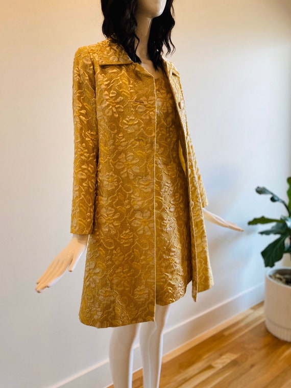 60s Gold Brocade Wiggle Mod Dress with Gold Brocad