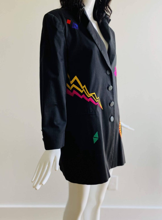 90s Oversized Black Embroidered Blazer / Pop Art … - image 4