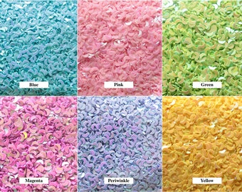 Tiny MOON Shaped Confetti! Blue, Pink, Yellow, White, Green, Purple