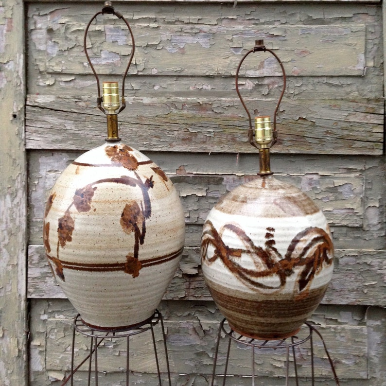 Vintage Stoneware Pottery Lamps Studio Pottery