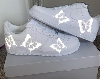 Silber Reflektierender Schmetterling Air Force 1s