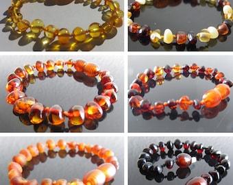 Certified  Baltic Amber Bracelets/Anklets - 7 Colours, 14 - 25cm + BESPOKE sizes