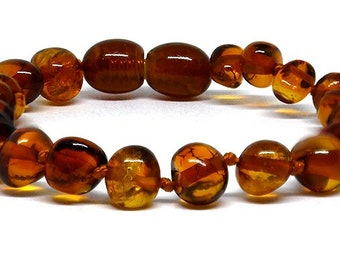 Genuine  Baltic Amber Bracelet/Anklet  -  Cognac  Colour, 14-25cm + BESPOKE sizes