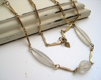 Vintage Sara Coventry Necklace / Gold Tone Link & Lucite Bead Necklace / VTG Long Chain Necklace