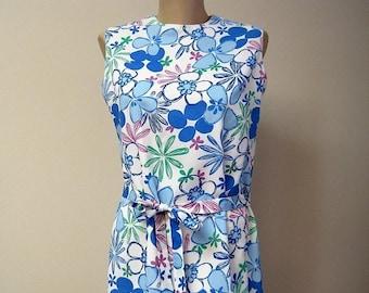 Vintage 60s Blue Floral Shift Dress/ Sleeveles Belted Summer Sheath / Flower Power Dress