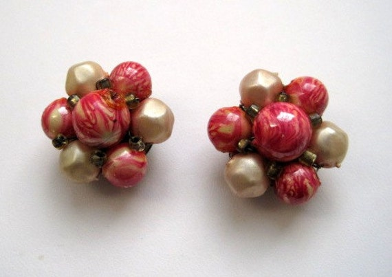 Vintage Bead Cluster Earring Multi Hot Pink Brass