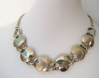 Vintage 50s 60s Gold Choker / Chunky Link Gold Tone Necklace / VTG Mid-Century Jewelry