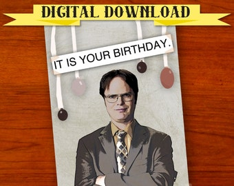 Dwight Schrute (The Office) Birthday Card [Digital Download] - Printable Card