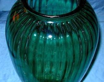 981d0647605 X LARGE Teal Vase Anchor Hocking Aqua Ribbed Glass Vase 12.5