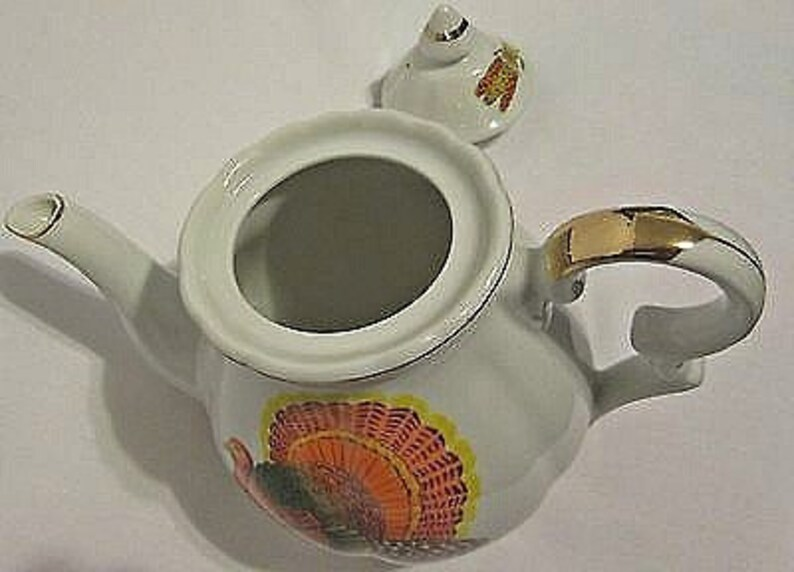 Like New Turkey Teapot Norcrest White Orange Green Yellow Japan Perfect