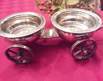 Wheeled Double Silverplated Condiment Wagon by F.B Rogers RARE
