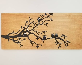 Owls wooden sign wall decor