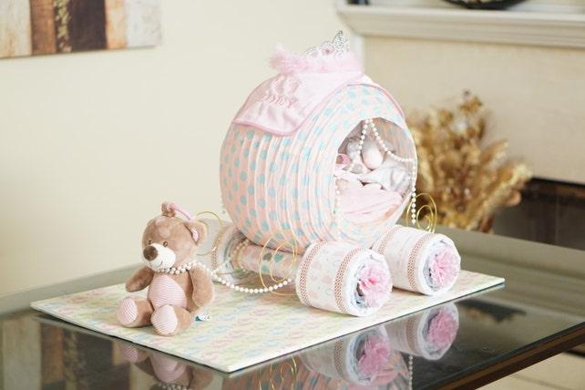 Cinderella Princess Carriage Diaper Cake Baby Shower Diaper Etsy