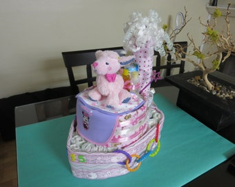 Tugboat Diaper Cake, Baby Shower Diaper Cake, Fancy Baby Shower Gift