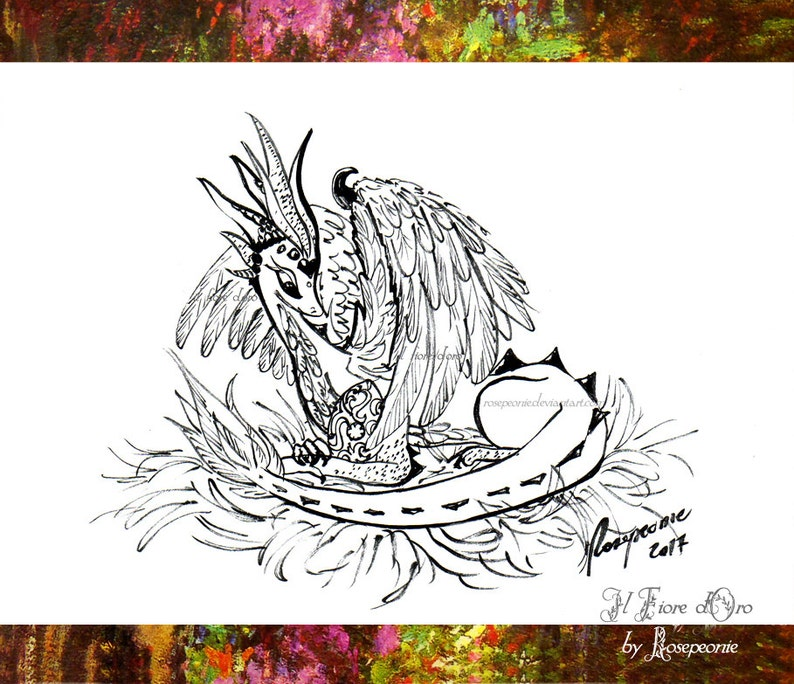 Dragon illustration: Winged Dragoness with her egg  Original Haiku ink  drawing on high quality paper, legend myth Italy art collection OOAK