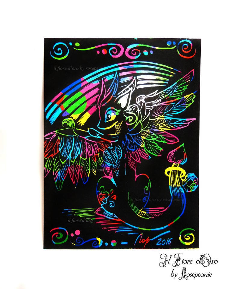 Dragon Illustration Winged Dragon Original Rainbow Scratch Drawing On High Quality Paper Legend Italy Art Collection Myth Ooak
