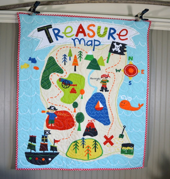 Pirate Baby Quilt, Nursery Bedding, Treasure Map baby Quilt, Crib Quilt, on map print, map in europe, map art projects, map with mountains, map duvet cover, map quotes, map party decor, map mobile, map project ideas, map jewelry, map with states, map recipe, map fabric, map bedding, map ne usa, map with compass, map design, map quip, map skirt, map crib set,