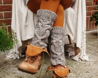 MADE to ORDER . Knitted chunky coffee-cream leg warmers. Cable boot toppers. Women's wool leg warmers with an owl pattern.