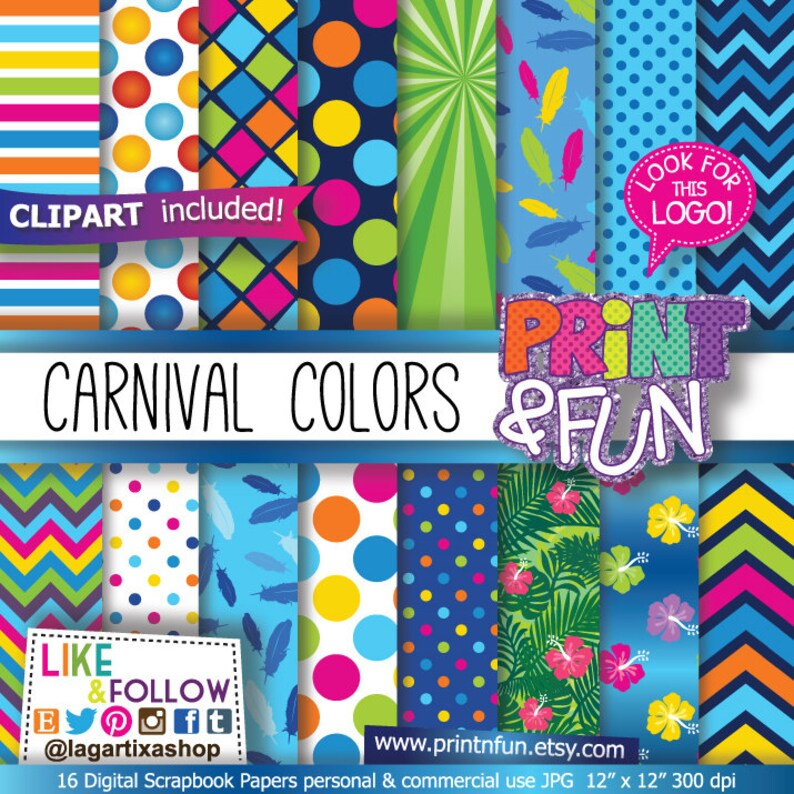 Carnival Patterns Digital Paper Carnaval Jungle Clip Art Png Red Fuchsia Blue Yellow Hibiscus Luau Party For Party Printables
