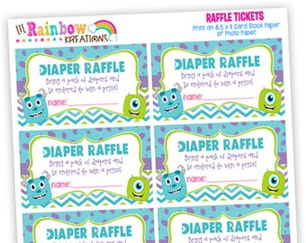 808 Raffle Tickets: Monsters 3 Raffle Ticket - Instant Downloadable File
