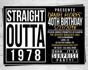 940-02: DIY - Straight Outta Hip Hop Party Invitation Or Thank You Card
